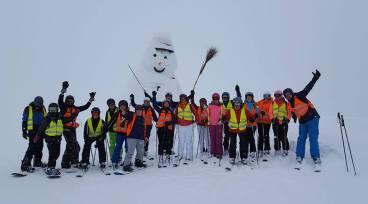 Met de sneeuwpop!